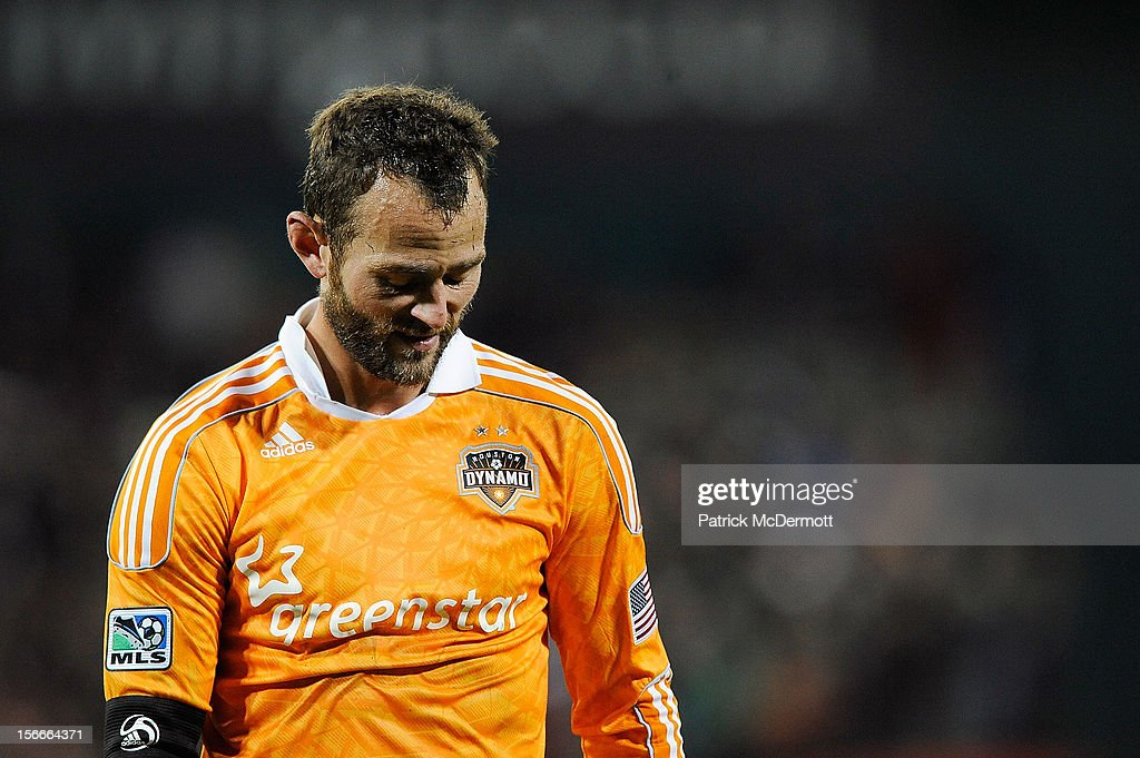 Brad Davis #11 of Houston Dynamo reacts in the second half against D.C. United during leg 2 of the Eastern Conference Championship at RFK Stadium on November 18, 2012 in Washington, DC.