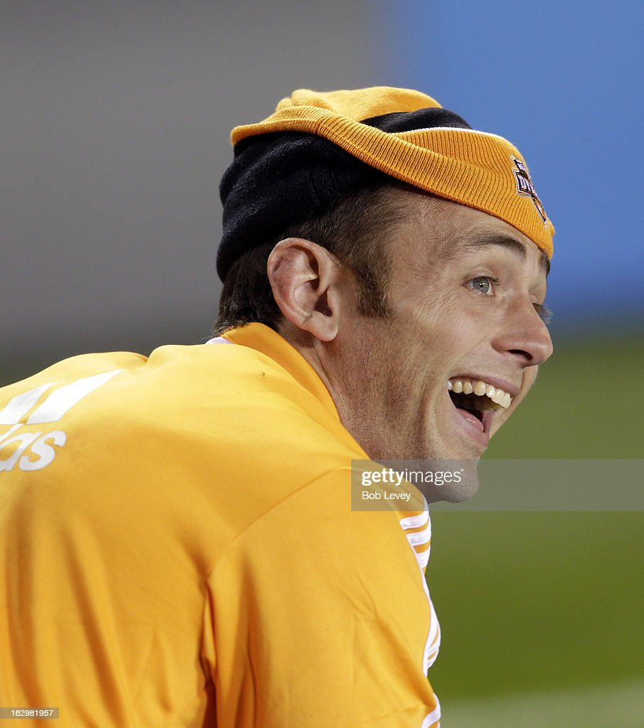 Brad Davis #11 of the Houston Dynamo laughs it up during first half action at BBVA Compass Stadium on March 2, 2013 in Houston, Texas.