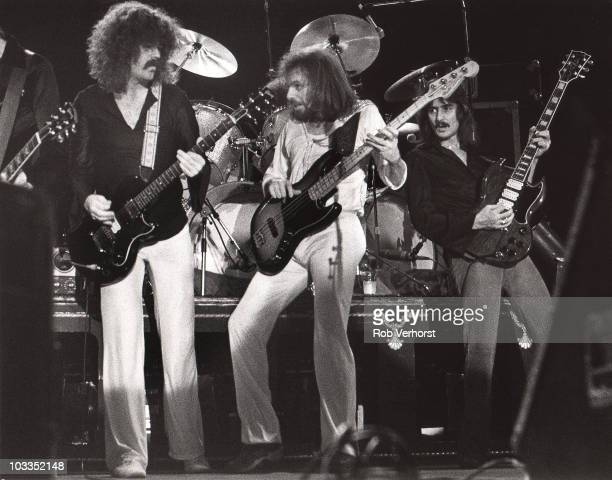 Brad Delp Fran Sheehan and Barry Coudreau of Boston perform on stage at Ahoy on 9th October 1979 in Rotterdam Netherlands