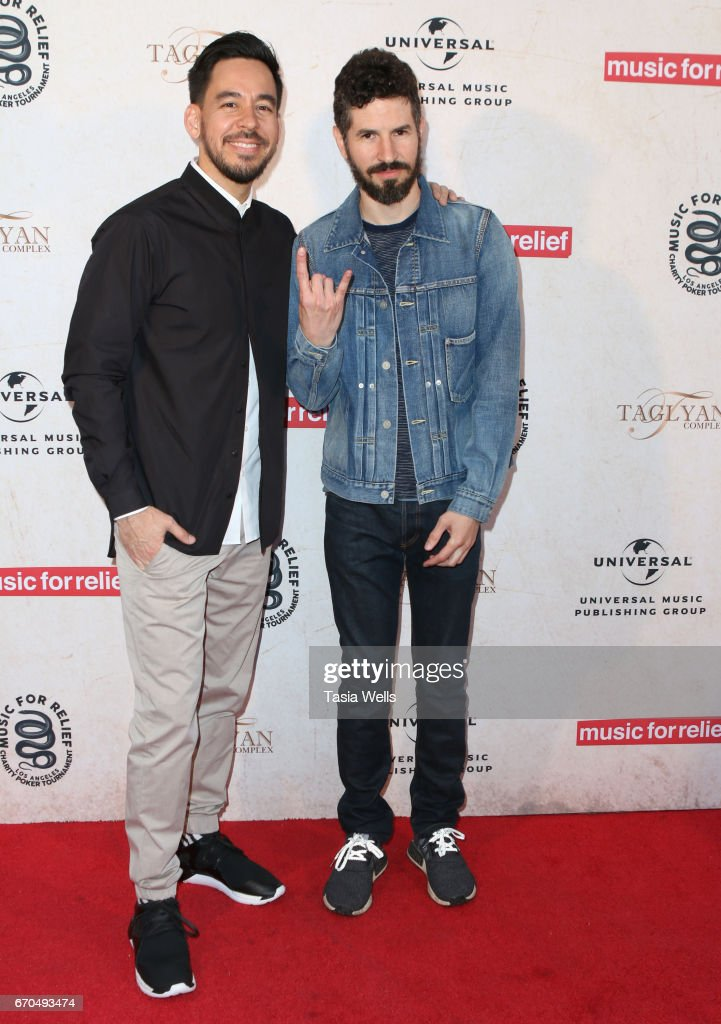 Brad Delson (L) and Mike Shinoda of Link Park attend Linkin Park's Music for Relief - Charity Poker Tournament at Taglyan Cultural Complex on April 19, 2017 in Hollywood, California.