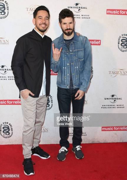 Brad Delson and Mike Shinoda of Link Park attend Linkin Park's Music for Relief Charity Poker Tournament at Taglyan Cultural Complex on April 19 2017...