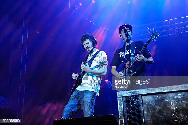 Brad Delson and Mike Shinoda of Linkin Park perform onstage during River City Rockfest at the ATampT Center on May 24 2015 in San Antonio Texas