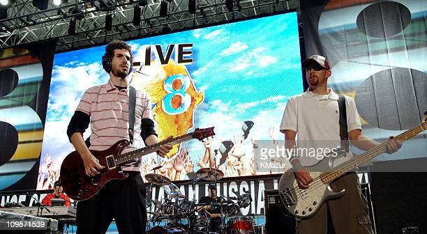 Brad Delson and Phoenix Farrell of Linkin Park during LIVE 8 Philadelphia Rehearsals at Philadelphia Museum of Art in Philadelphia Pennsylvania...