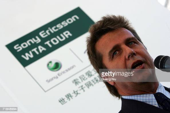 Brad Drewett chief executive officer of ATP attends a ceremony to announce Sony Ericsson will be one of the premier sponsors for the ATP Tennis...