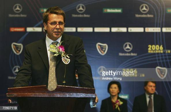 Brad Drewett Tennis Masters Cup Tournament Director delivers a speech during the opening ceremony for the Tennis Masters Cup Shanghai on November 11...