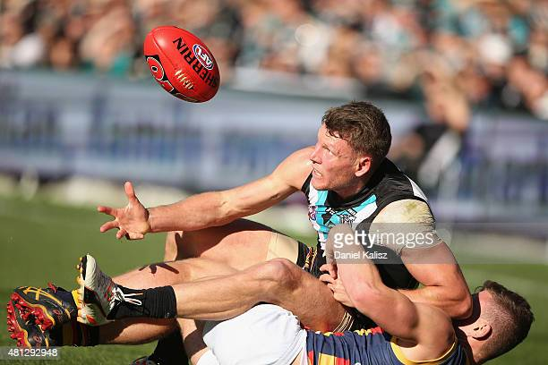 Brad Ebert of the Power competes for the ball during the round 16 AFL match between the Port Adelaide Power and the Adelaide Crows at Adelaide Oval...