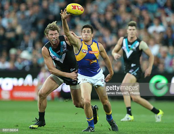 Brad Ebert of the Power tackles Liam Duggan of the Eagles during the 2016 AFL Round 09 match between Port Adelaide Power and the West Coast Eagles at...