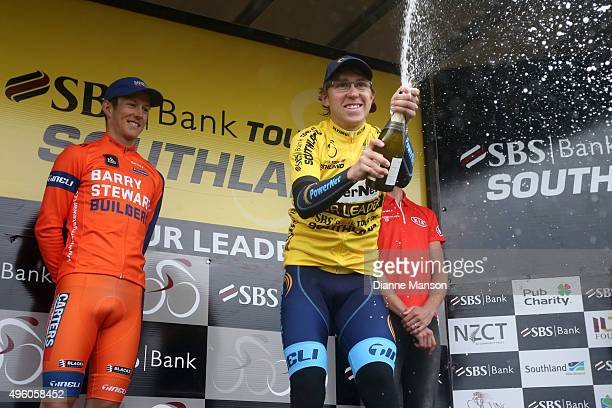 Brad Evans of Dunedin celebrates winning the Tour of Southland on November 7 2015 in Invercargill New Zealand