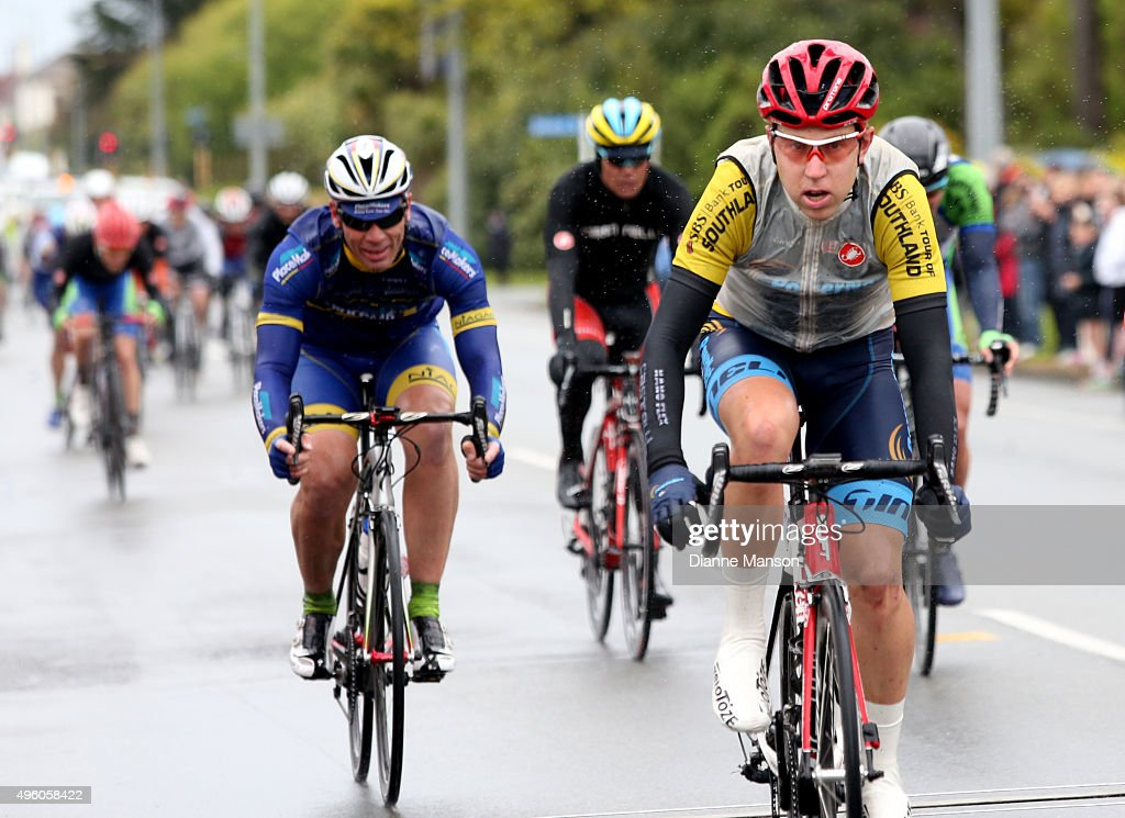 Brad Evans of Dunedin comes over the finish line to win the Tour of Southland on November 7 2015 in Invercargill New Zealand