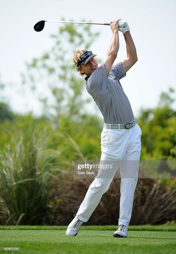 <a gi-track='captionPersonalityLinkClicked' href=/galleries/search?phrase=Brad+Faxon&family=editorial&specificpeople=215316 ng-click='$event.stopPropagation()'>Brad Faxon</a> hits a drive on the fourth hole during the second round of the Legends Division at the Liberty Mutual Insurance Legends of Golf at The Westin Savannah Harbor Golf Resort & Spa on April 27, 2013 in Savannah, Georgia.