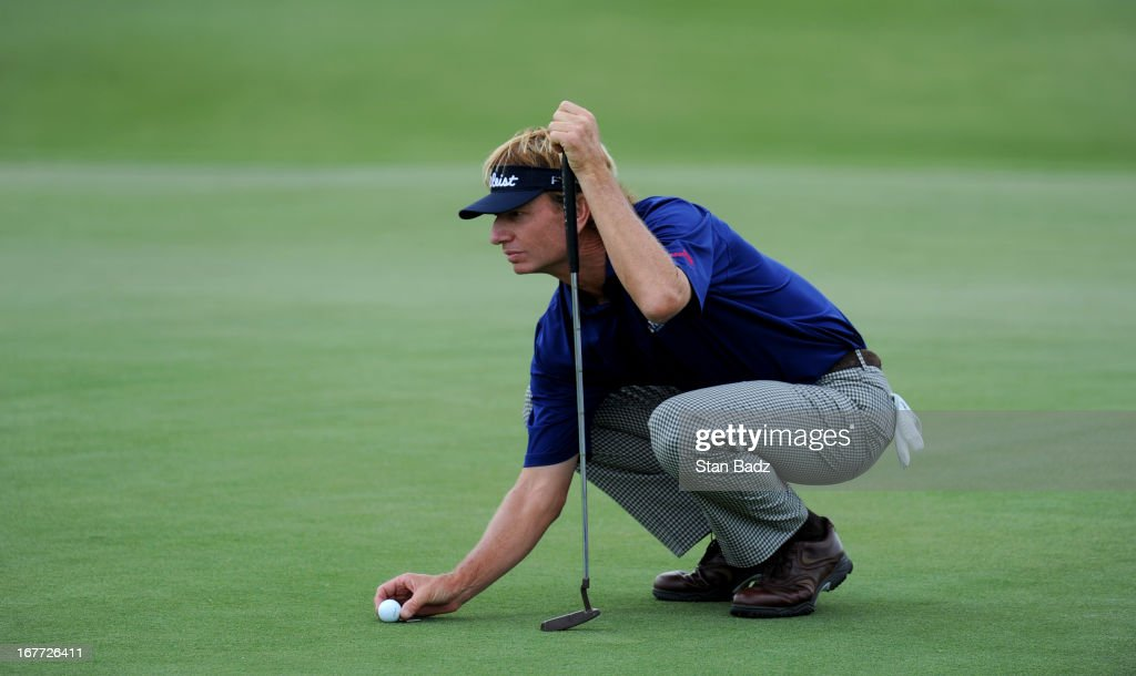 <a gi-track='captionPersonalityLinkClicked' href=/galleries/search?phrase=Brad+Faxon&family=editorial&specificpeople=215316 ng-click='$event.stopPropagation()'>Brad Faxon</a> lines his putt on the 18th green during the final round of the Legends Division at the Liberty Mutual Insurance Legends of Golf at The Westin Savannah Harbor Golf Resort & Spa on April 28, 2013 in Savannah, Georgia.