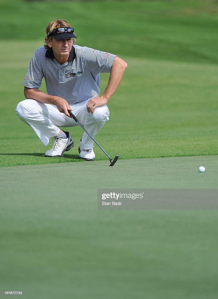 <a gi-track='captionPersonalityLinkClicked' href=/galleries/search?phrase=Brad+Faxon&family=editorial&specificpeople=215316 ng-click='$event.stopPropagation()'>Brad Faxon</a> studies his putt on the third hole during the second round of the Legends Division at the Liberty Mutual Insurance Legends of Golf at The Westin Savannah Harbor Golf Resort & Spa on April 27, 2013 in Savannah, Georgia.