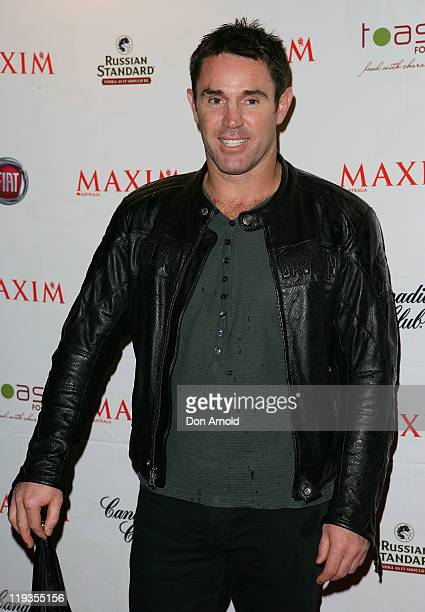 Brad Fittler arrives at the Maxim Australia magazine launch at the Museum of Sydney on July 19 2011 in Sydney Australia