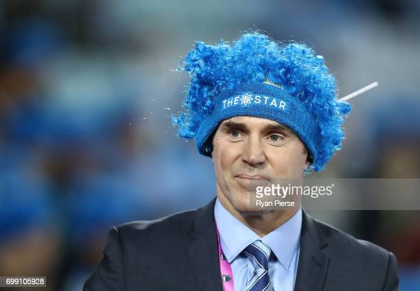Brad Fittler looks on before game two of the State Of Origin series between the New South Wales Blues and the Queensland Maroons at ANZ Stadium on...