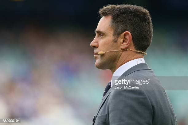 Brad Fittler looks on during the round 10 NRL match between the Sydney Roosters and the Parramatta Eels at Allianz Stadium on May 14 2017 in Sydney...