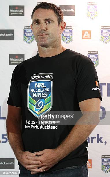 Brad Fittler of the Roosters speaks on stage during the NRL Auckland Nines Jersey Launch at Dick Smith on January 22 2014 in Sydney Australia