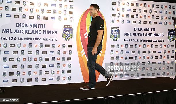 Brad Fittler of the Roosters walks on stage during the NRL Auckland Nines Jersey Launch at Dick Smith on January 22 2014 in Sydney Australia