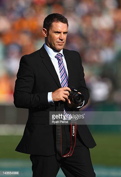Brad Fittler takes photos before the round eight NRL match between the Parramatta Eels and the Wests Tigers at Parramatta Stadium on April 29 2012 in...