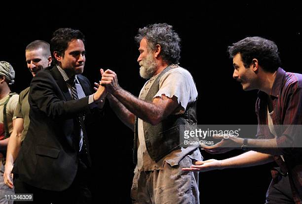 Brad Fleischer Playwright Rajiv Joseph Robin Williams and Arian Moayed attend the curtain call on Opening Night of 'Bengal Tiger At The Baghdad Zoo'...