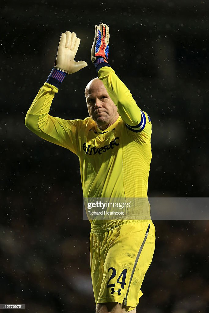 Brad Friedel of Tottenham Hotspur claps during the UEFA Europa League Group J match between Tottenham Hotspur and Panathinaikos at White Hart Lane on December 6, 2012 in London, England.