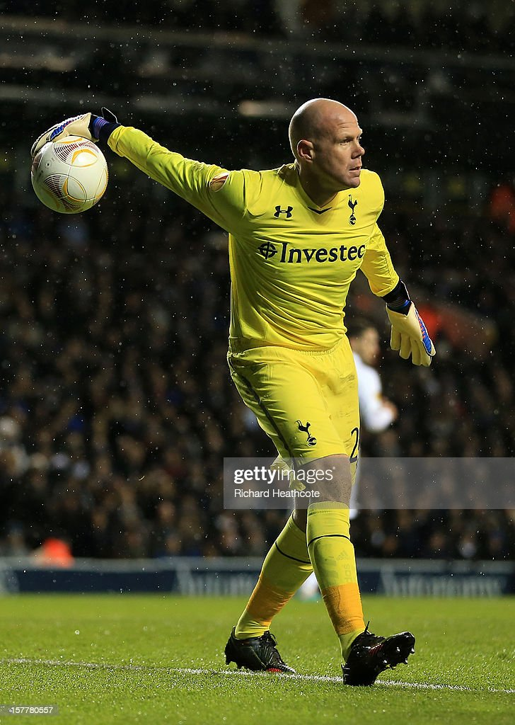 <a gi-track='captionPersonalityLinkClicked' href=/galleries/search?phrase=Brad+Friedel&family=editorial&specificpeople=210857 ng-click='$event.stopPropagation()'>Brad Friedel</a> of Tottenham Hotspur dispatches the ball during the UEFA Europa League Group J match between Tottenham Hotspur and Panathinaikos at White Hart Lane on December 6, 2012 in London, England.