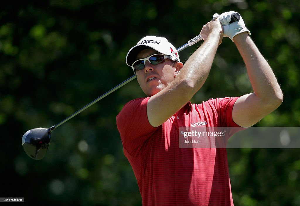 Brad Fritsch of Canada tees off on the second hole during the second round of the Greenbrier Classic at the Old White TPC on July 4, 2014 in White Sulphur Springs, West Virginia.