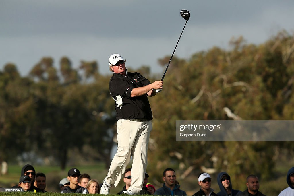 Brad Fritsch watches his tee shot on the second hole during the final round of the Farmers Insurance Open on the South Course at Torrey Pines Golf Course on January 27, 2013 in La Jolla, California.
