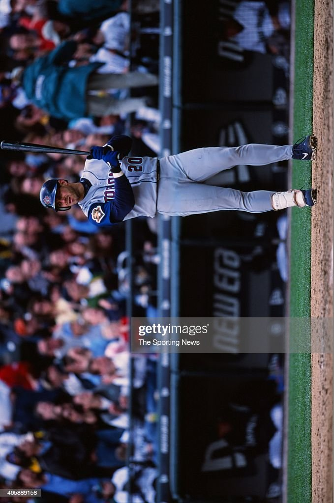 <a gi-track='captionPersonalityLinkClicked' href=/galleries/search?phrase=Brad+Fullmer&family=editorial&specificpeople=220658 ng-click='$event.stopPropagation()'>Brad Fullmer</a> of the Toronto Blue Jays bats against the Seattle Mariners at Safeco Field on May 5, 2001 in Seattle, Washington.