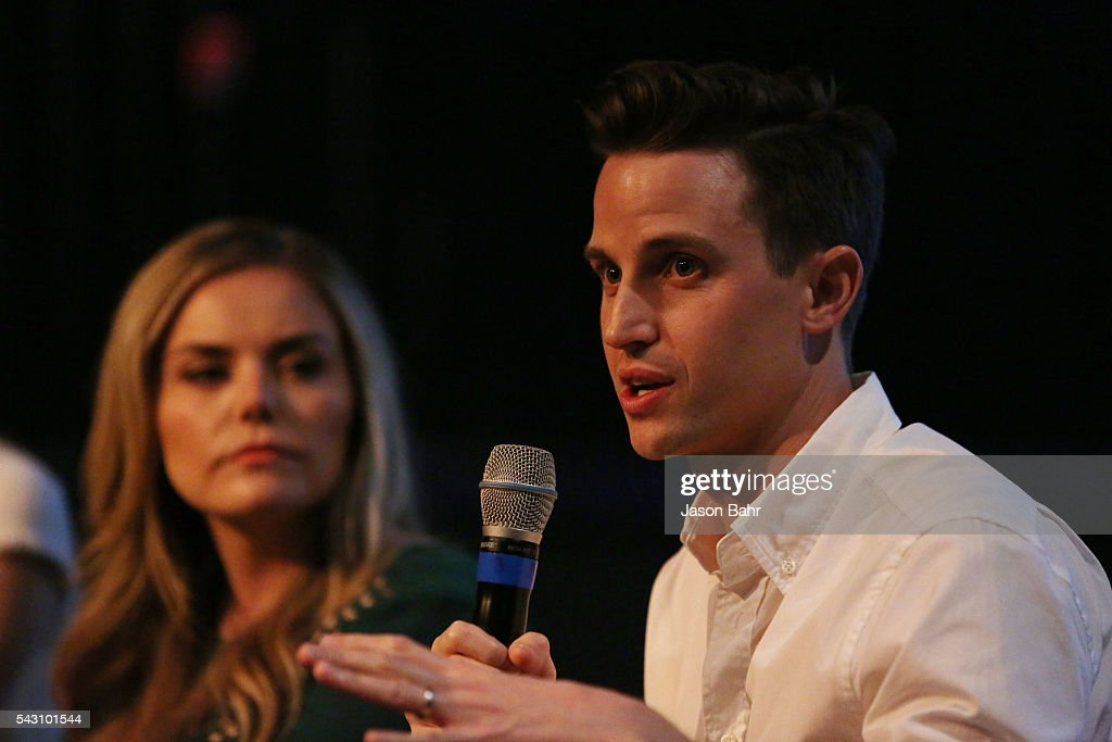 Brad Gardner speaks as Kate Lambert looks on during the SeriesFest: Season Two 'From Web to
