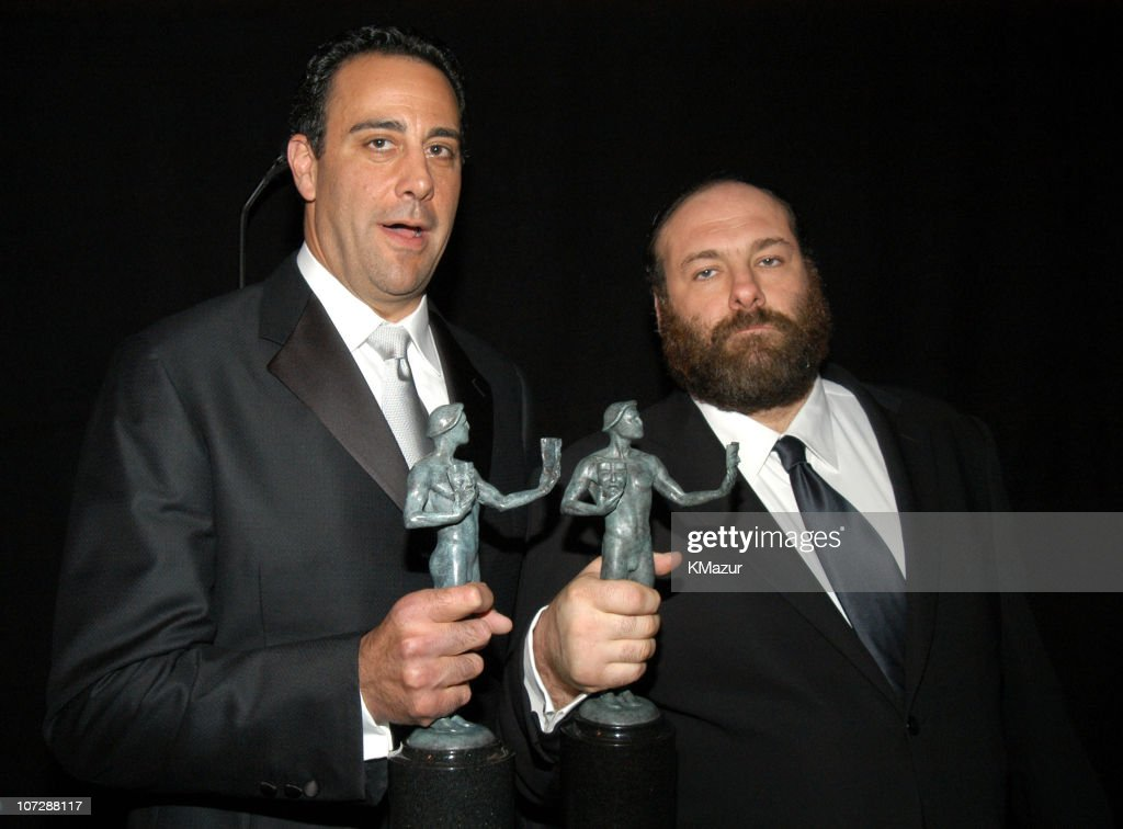 Brad Garrett and James Gandolfini during Ninth Annual Screen Actors Guild Awards - Backstage and Audience at The Shrine Auditorium in Los Angeles, California, United States.