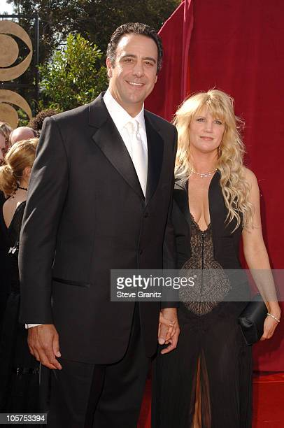 Brad Garrett and Jill Diven during The 57th Annual Emmy Awards Arrivals at Shrine Auditorium in Los Angeles California United States