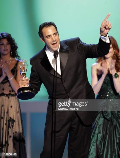 Brad Garrett winner Outstanding Supporting Actor in A Comedy Series for 'Everyone Loves Raymond' with presenter Marcia Cross