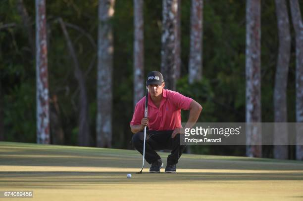 Brad Gehl of the United States lines up a putt on the sixth green during the second round of the PGA TOUR Latinoamérica Honduras Open presented by...