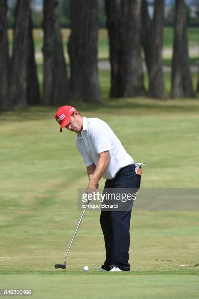 Brad Ghel of the United States putts on the fourth green during the final round of the PGA TOUR Latinoamerica 70 Avianca Colombia Open at Club...