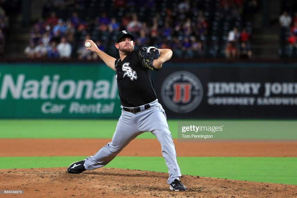 Brad Goldberg #67 of the Chicago White Sox pitches against the Texas Rangers in the bottom of the seventh inning at Globe Life Park in Arlington on August 17, 2017 in Arlington, Texas.