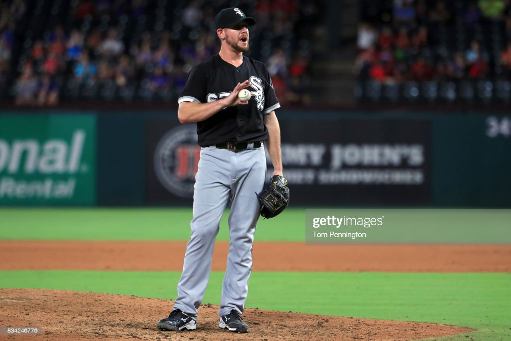 Brad Goldberg #67 of the Chicago White Sox reacts as Joey Gallo #13 of the Texas Rangers scores after Goldburg walked Brett Nicholas #6 of the Texas Rangers with the bases loaded in the bottom of the seventh inning at Globe Life Park in Arlington on August 17, 2017 in Arlington, Texas.