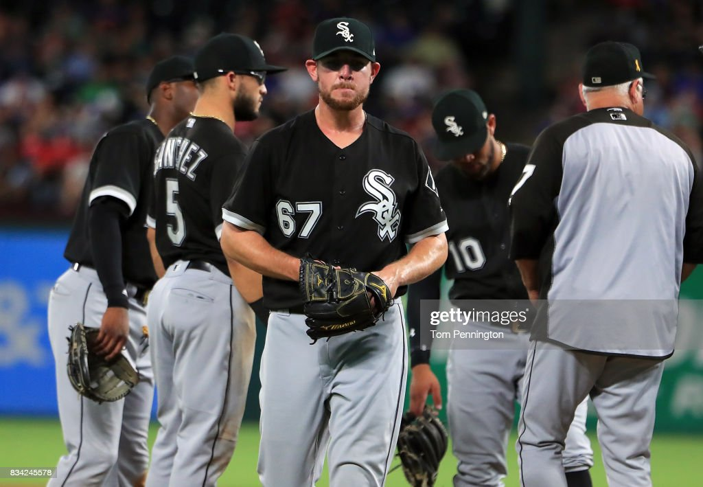 Brad Goldberg #67 of the Chicago White Sox walks off the mound after being pulled from the game against the Texas Rangers in the bottom of the seventh inning at Globe Life Park in Arlington on August 17, 2017 in Arlington, Texas.