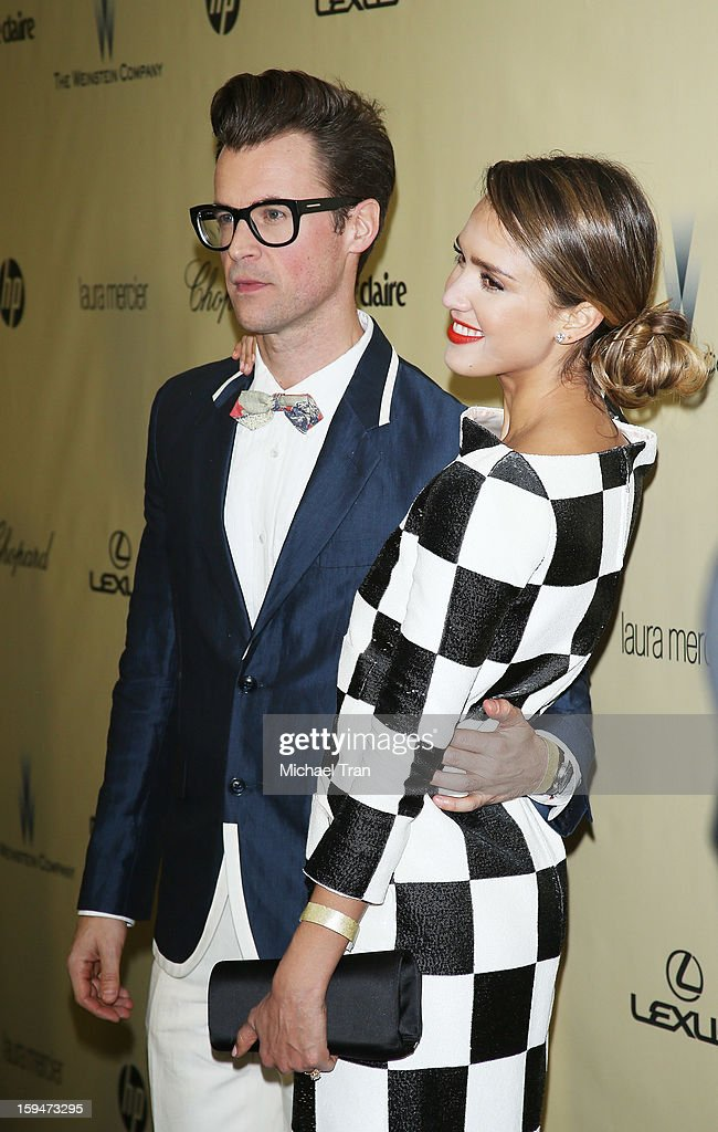 Brad Goreski and Jessica Alba arrive at The Weinstein Company's 2013 Golden Globes after party held at The Beverly Hilton Hotel on January 13, 2013 in Beverly Hills, California.