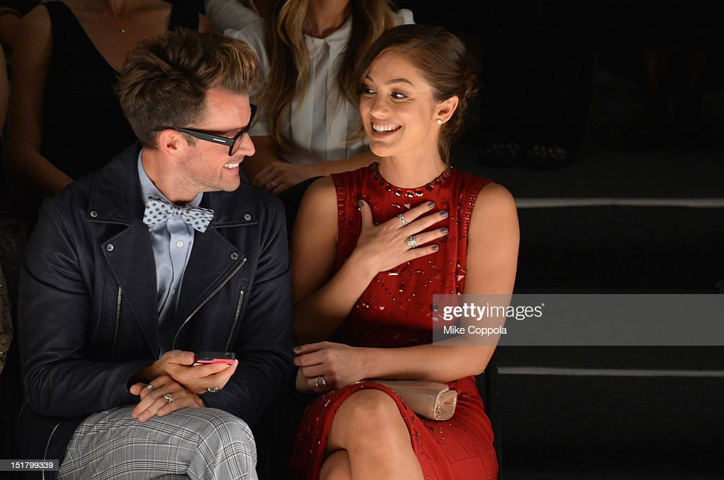Brad Goreski and Minka Kelly attend the Jenny Packham Runway Show during the Spring 2013 Mercedes-Benz Fashion Week at The Studio Lincoln Center on September 11, 2012 in New York City.