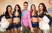 Brad Goreski and the LA Ram Cheerleaders attend the Ovarian Cancer Research Fund Alliance's 3rd Annual Super Saturday Los Angeles at Barker Hangar on...