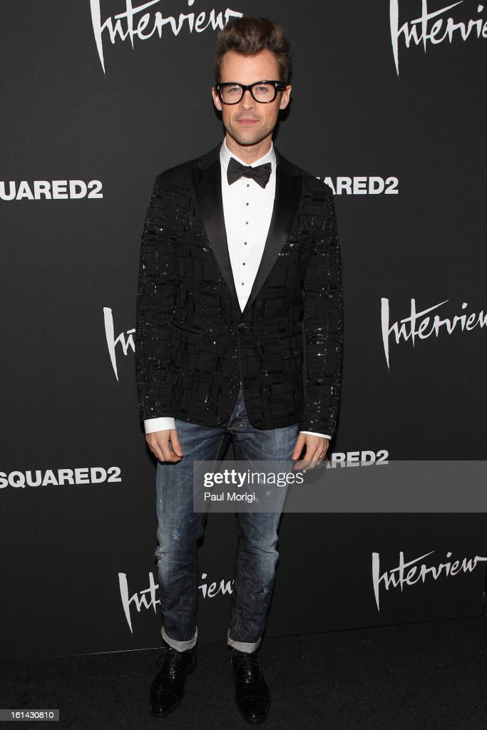<a gi-track='captionPersonalityLinkClicked' href=/galleries/search?phrase=Brad+Goreski&family=editorial&specificpeople=3255296 ng-click='$event.stopPropagation()'>Brad Goreski</a> arrives to DSquared2 and Interview Magazine's premiere screening of 'Behind The Mirror': Spring Summer 2013 Campaign at Copacabana on February 10, 2013 in New York City.