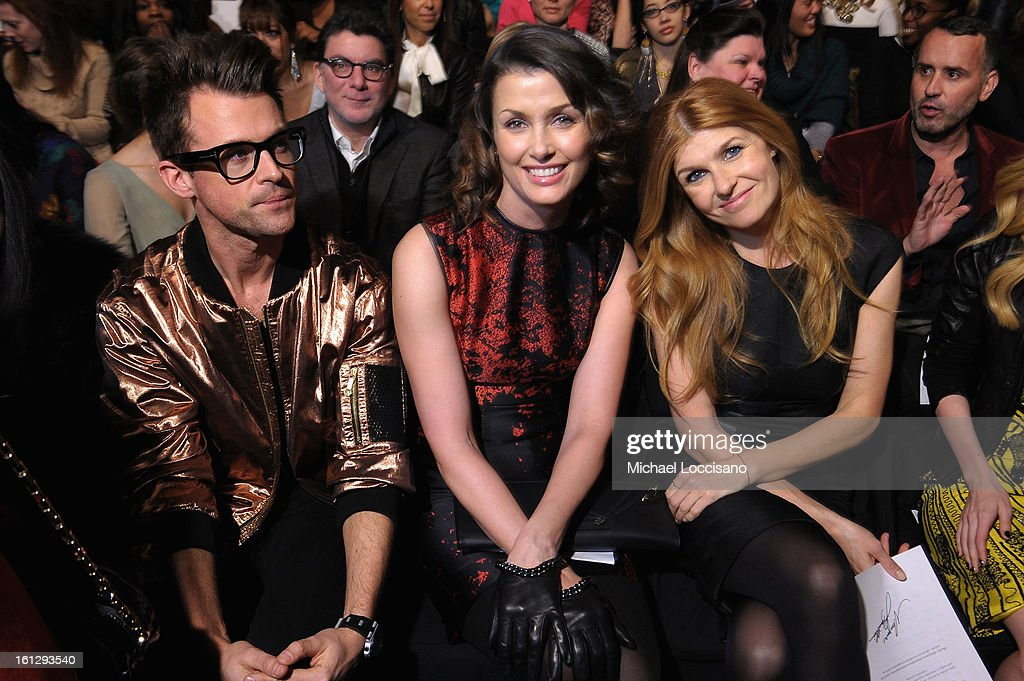 <a gi-track='captionPersonalityLinkClicked' href=/galleries/search?phrase=Brad+Goreski&family=editorial&specificpeople=3255296 ng-click='$event.stopPropagation()'>Brad Goreski</a>, <a gi-track='captionPersonalityLinkClicked' href=/galleries/search?phrase=Bridget+Moynahan&family=editorial&specificpeople=204689 ng-click='$event.stopPropagation()'>Bridget Moynahan</a>, and <a gi-track='captionPersonalityLinkClicked' href=/galleries/search?phrase=Connie+Britton&family=editorial&specificpeople=234699 ng-click='$event.stopPropagation()'>Connie Britton</a> attend the Monique Lhuillier Fall 2013 fashion show during Mercedes-Benz Fashion at The Theatre at Lincoln Center on February 9, 2013 in New York City.
