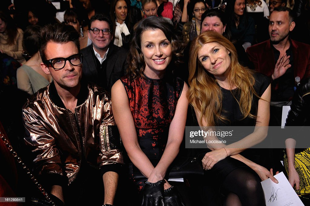 Brad Goreski, Bridget Moynahan, and Connie Britton attend the Monique Lhuillier Fall 2013 fashion show during Mercedes-Benz Fashion at The Theatre at Lincoln Center on February 9, 2013 in New York City.