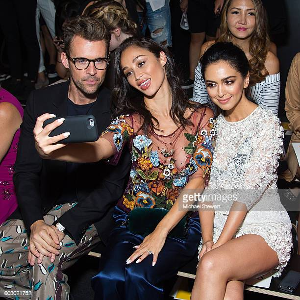 Brad Goreski Cara Santana and Nazanin Boniadi attend the Jenny Packham fashion show during September 2016 New York Fashion Week The Shows at The Dock...