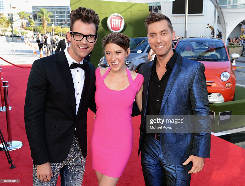 Brad Goreski, Eden Sher and Lance Bass at Fiat's Into The Green during the 40th American Music Awards held at Nokia Theatre L.A. Live on November 18, 2012 in Los Angeles, California.