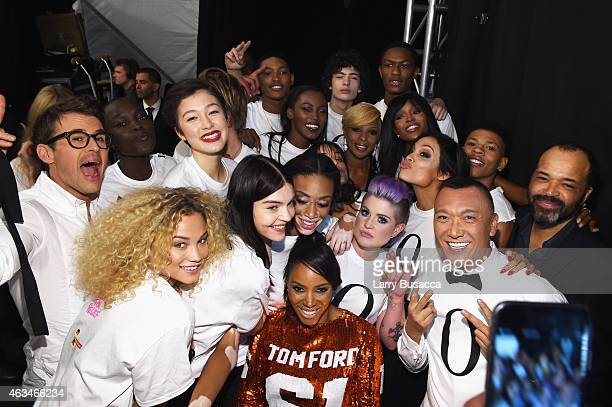 Brad Goreski Kelly Osbourne Rose Bertram Winnie Harlow Jeffrey Wright Mary J Blige Joe Zee Rosario Dawson and June Ambrose pose backstage at...