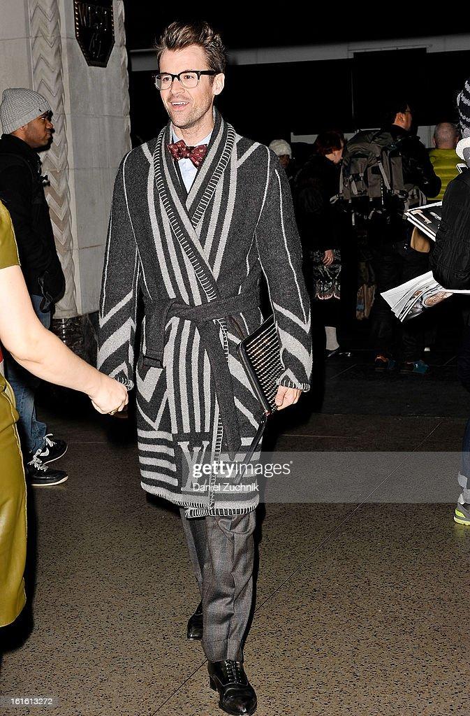Brad Goreski seen arriving to the Oscar de la Renta show on February 12, 2013 in New York City.