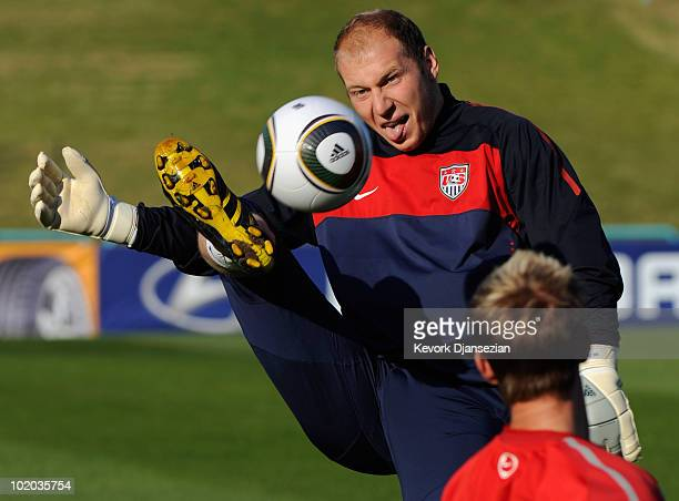 Brad Guzan goalkeeper of US national football controls the ball during training session at Pilditch Stadium on June 13 2010 in Pretoria South Africa