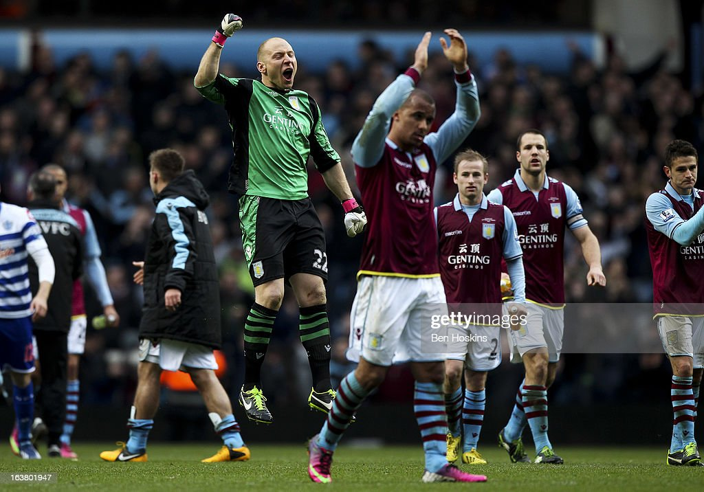 <a gi-track='captionPersonalityLinkClicked' href=/galleries/search?phrase=Brad+Guzan&family=editorial&specificpeople=662127 ng-click='$event.stopPropagation()'>Brad Guzan</a> of Aston Villa celebrates his teams win during the Barclays Premier League match between Aston Villa and Queens Park Rangers at Villa Park on March 16, 2013 in Birmingham, England.