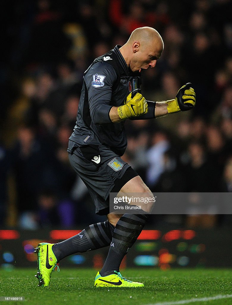 <a gi-track='captionPersonalityLinkClicked' href=/galleries/search?phrase=Brad+Guzan&family=editorial&specificpeople=662127 ng-click='$event.stopPropagation()'>Brad Guzan</a> of Aston Villa celebrates the opening goal during the Barclays Premier League match between Aston Villa and Cardiff City at Villa Park on November 09, 2013 in Birmingham, England.